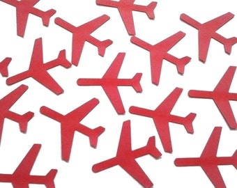 """Red Airplane Confetti 50CT, Time Flies, Airplane Theme Party Decorations, Pilot Confetti - 1.5"""" airplanes - No475"""