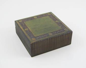 vintage green wooden jewellery box, brass inlaid box, ring storage box, mens jewelry box, trinket box