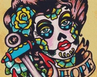 Tattoo Cross Stitch, Illustrated Ink, Sugar Skull Tattoo, Cross Stitch, Hope, Counted Cross Stitch, Day of the Dead, Sugar Skull Stitching