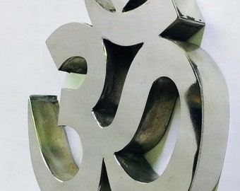 Handmade OM Symbol Steel For Yoga Store Wall Hanging For House Office Silver Color