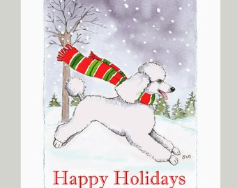 White Poodle Christmas Cards, Box of 16