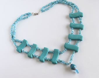 Blue Bead Necklace - Repurposed Jewelry - Y Necklace - One of a Kind