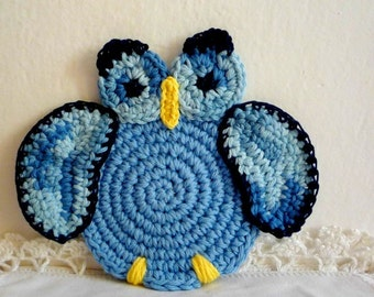 Owl Coasters - Crochet Owl - Crochet Coasters - Animal Coasters - Gift under 20 - Kitchen Decor - Mothers Day Gift - Hostess Gift - Set of 2