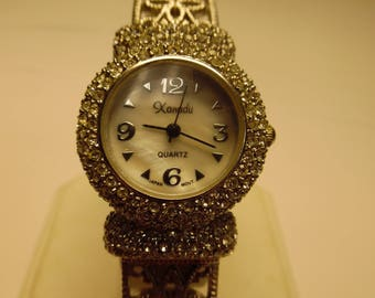 Xanadu Rhinestone Encrusted Ladies Quartz Cuff Wrist Watch