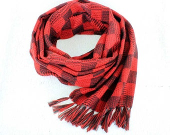 Red Plaid Scarf - Hand Woven Scarf - Red and Black Plaid Scarf - Womens Plaid Scarf - Red and Black Scarf - Black and Red Scarf