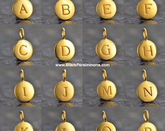 Initial Letter Alphabet Satin 24K Gold Plated Sterling Silver Charm Necklace - Insurance Included