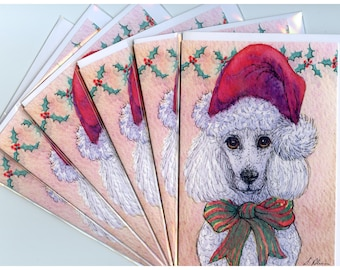 6 x white poodle dog greeting holiday cards - she was ready for the jolly season in her Santa hat