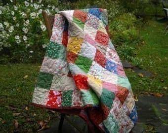 Quilts, bedding, Classic Americana Patchwork bed Quilt--Lap Size--All Cotton--54X81--picnic blanket, primary colors