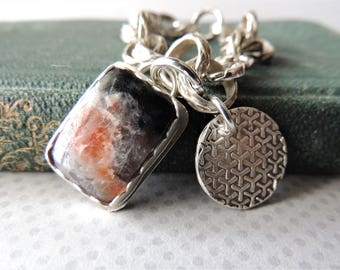 Sterling Silver Bracelet with Silver Bezel Set Stones, Rustic Jewelry, Artisan Jewelry, Handmade Silver Chain, Artisan Silver Charm