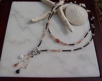 Lariat Necklace, Long Necklace, Double Necklace, Gemstone Necklace, Swarovski Necklace. Gemstone Lariat, Agate Necklace, Sterling Necklace