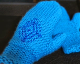 Anna's Frozen Mittens, blue snowflake gloves inspired by Princess Anna's winter gloves in Disney's Frozen, cosplay costume mitts
