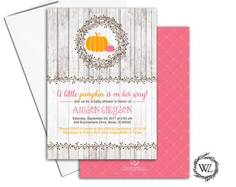 Little pumpkin baby shower invitations | fall baby shower invites girl | printable or printed invitation - WLP00755