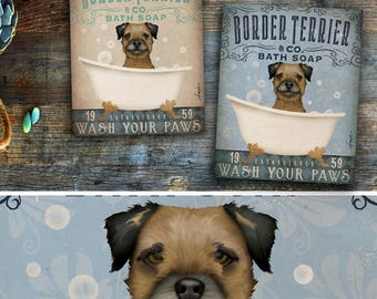 Border Terrier dog bath soap Company artwork on gallery wrapped canvas by Stephen Fowler