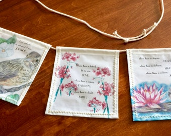 Prayer of St. Francis of Assisi Peace Prayer Flags - full color with nature art, gift for animal lover