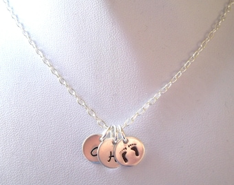 Personalized Baby Footprints Necklace w/ Two Initials -- Mother's Necklace, New Mom, Keepsake, Baby Footprints -- MADE TO ORDER
