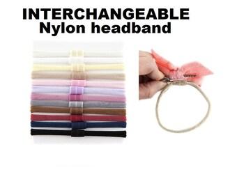 Nylon headbands, Interchangeable Nylon Headband, nude nylon headband,  universal nylon headband, Nylon headband with loop for clip