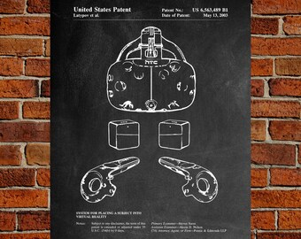 HTC Vive Art Print,  Patent, HTC Vive Vintage Art,  Blueprint,  Poster, PatentPrints, Wall Art, Decor [TC186A]