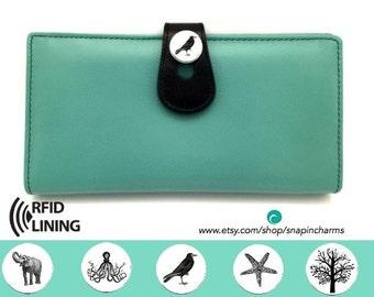 Personalized wallet womens wallet leather wallet woman custom wallet turquoise wallet long wallet
