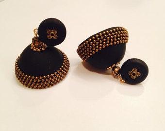 Polymer clay jhumka/ jhumki earrings black and brass
