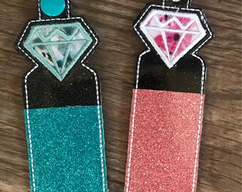 Diamond Lip Balm Holder Keychain, Pink Diamond Keychain, Blue and Teal Lip Balm Holder, Gift for Her, Diamond, Gift for Teen, Bride to be