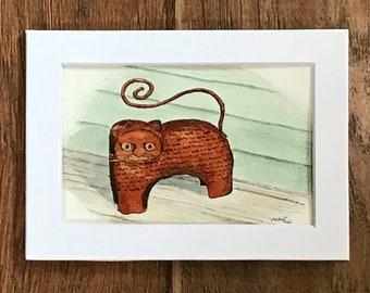 Tin Porch Cat, original ink and watercolor sketch
