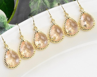 Blush Champagne Bridesmaid Earrings SET OF 6 - 15% OFF Wedding Jewelry - Gold Peach Champagne Earrings - Champagne Bridal Jewelry