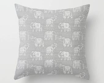 Elephant Pillow Cover Gray Pillow India Pillow Decorative Pillow Size Choice