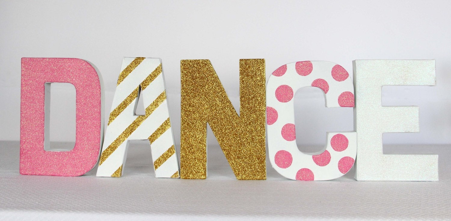 DANCE painted paper mache letters The CELEBRATE Crate