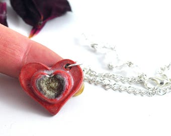 Asymmetrical Ceramic Necklace Love Heart Red with Fused Glass & Faceted Bead Strand Handmade Pottery Pendant Valentines Mothers Day Gift