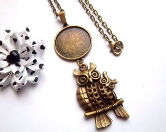 x stand necklace bronze 25 mm cabochon, owls