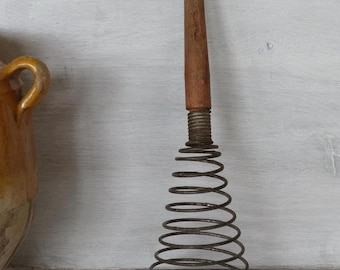 Vintage French Egg Beater , whip, hand mixer , French cuisine, kitchen utensil , kitchen decor.