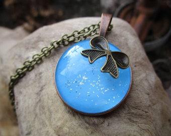 Miss Shabby-sweet Schleifchenkette with pendant blue glittering