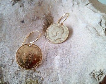 SALE! Gold antique earrings, coin earrings,coin dangle,gold coin charm,charm earrings