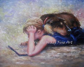 Girl Reading Art Print blond girl, dog and girl, mans best friend, dog, Vickie Wade Art