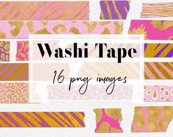 Animal Print Washi Tape Clipart, Animal Skin Patterns, Gold And Pink Decor Elements, Safari Washi Tapes, 16 PNG 300 Dpi Files, BUY5FOR8