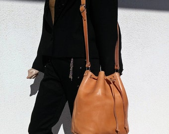 Leather Bucket Bag - Leather Pouch with Drawstring. Leather Shoulder Bag, Bucket Bag Women. 100% Cow Leather Handmade in Greece.
