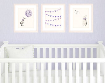 Purple Nursery Art Prints, Baby Girl Nursery Decor Set of 3 8x10 / A4 Prints, Purple Nursery Decor, Watercolor Illustrations and Bunting