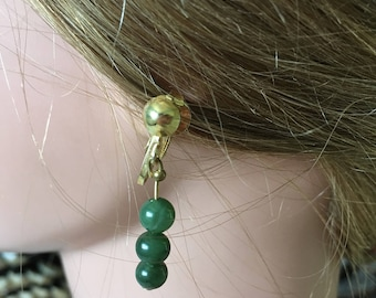 "Vintage 70's   ""JADE DANGLE DROPS"" Clip On Earrings in Gold Toned Clasps"