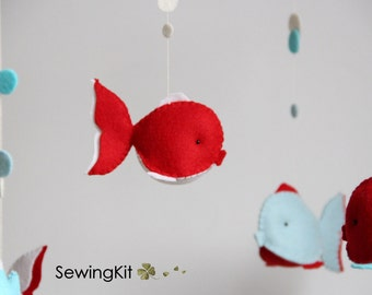 baby mobile natural, baby mobile sewing kit, nautical fish wool felt, turquoise, red, white blue, crib mobile, baby mobile, nautical nursery