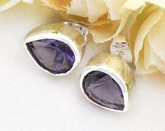 Rhinestone, Purple Crystal, CZ earrings, wedding bridal jewelry, costume