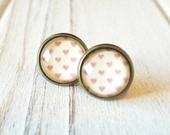Vintage Inspired Heart Stud Earrings, Stud Earrings, Heart Earrings, Pink Hearts, Antique Bronze Earrings, Vintage Inspired, Pink