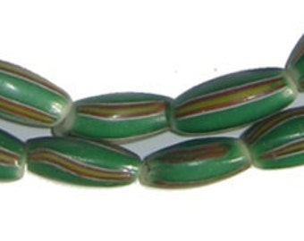35 Authentic Watermelon Chevron Beads - African Trade Beads - Glass Trade Beads - Jewelry Making Supplies - West Africa ** (CHV-OVL-GRN-209)
