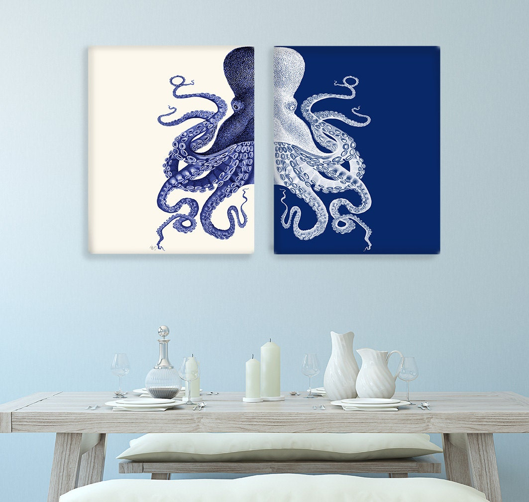 Bathroom Decor 2 Octopus Prints NAVY Blue /Cream Nautical Decor bathroom wall decor Octopus Wall Art Octopus Decor home Decor Bathroom wall