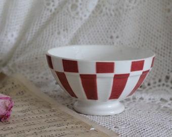 Vintage French Burgundy & White Cafe Au Lait Bowl - Digoin