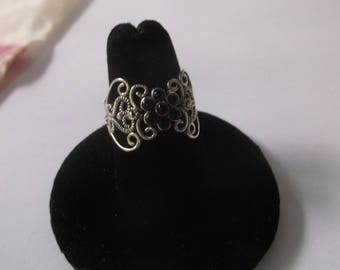 Vintage Sterling Silver Filigree Ring with 7 Onyx Stones and Sparkling Marcasite Accents, Size 7, Beautiful!