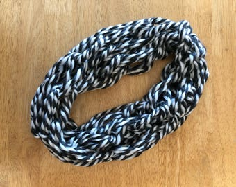 White & Charcoal Gray Infinity Scarf