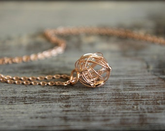 Wire Knot Necklace in Rose Gold