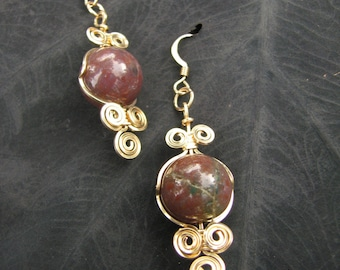 Fancy Jasper and Gold Filled Wire Wrapped Earrings