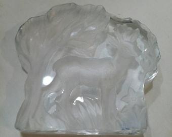 Crystal deer statue