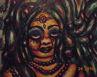 Original Artist Trading Card African Dreadlocked Goddess Colored Pencil and Pen